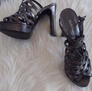Metallic silvery copper Strappy BCBG heels